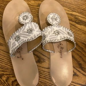 Jack Rogers White and Gray Sandal Size 9.5